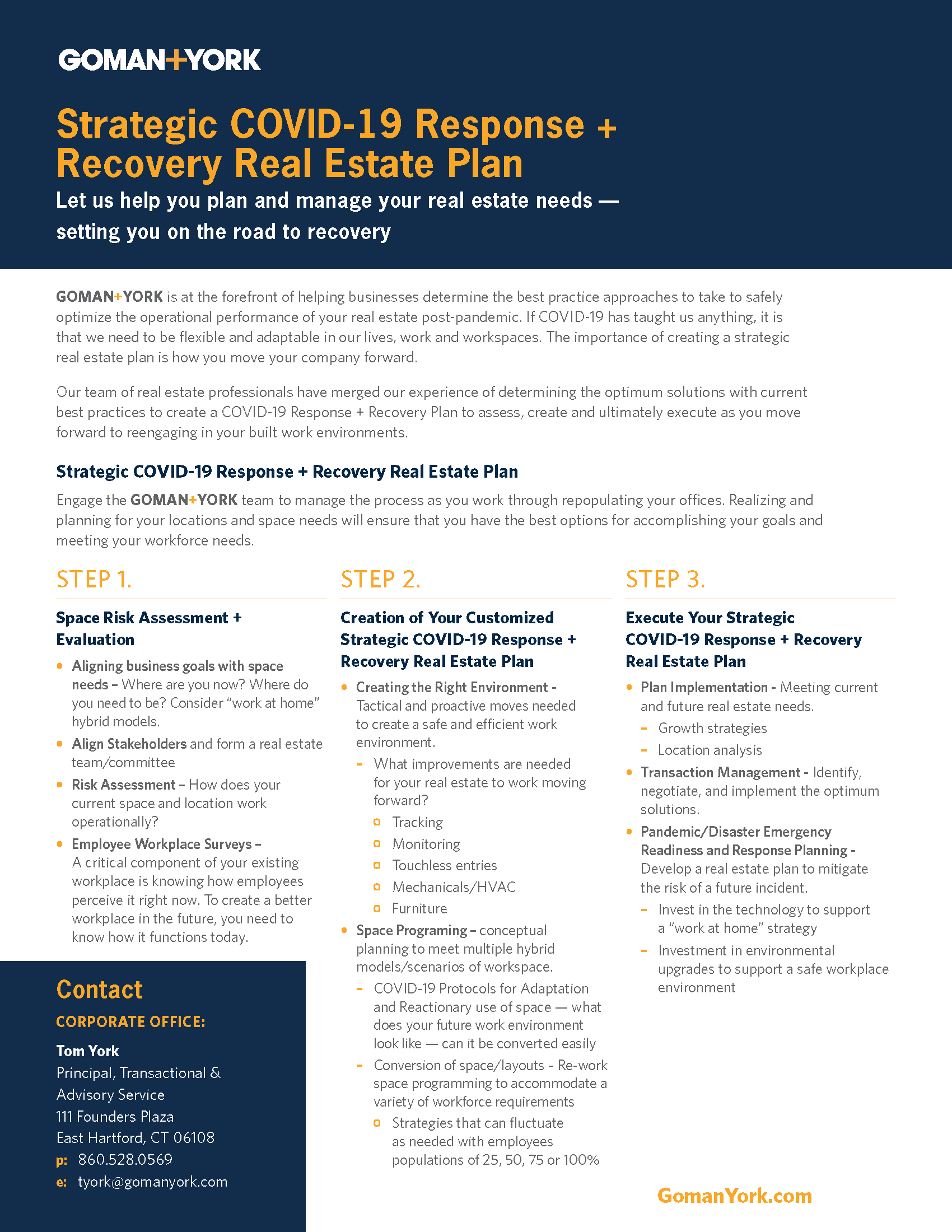 Download brochure - COVID-19 Recovery Real Estate Plan (PDF)